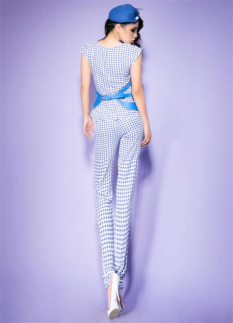 sleeveless pattern jumpsuit blue sleeveless pattern belted hollow out tube jumpsuit