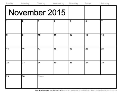 Printable Calendar 2015 November Canada | printable calendars nov 2015 calendar template 2016