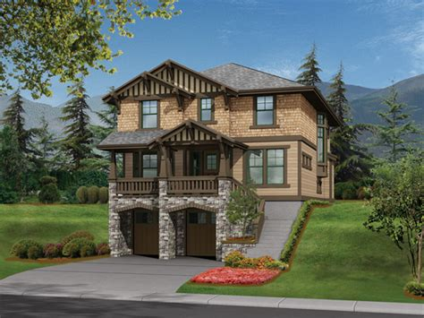 versatile plan for narrow sloped lots hwbdo55815 riding hill craftsman home plan 071d 0105 house plans
