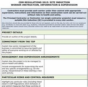 Induction Procedure Template by Cdm Regulations 2015 Site Induction Template Pp