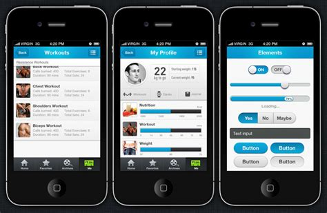 fitpulse iphone and ios app ui design templates
