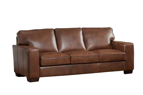 Kimberlly Full Top Grain Brown Leather Sofa Leather Sofa