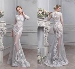 2017 vintage lace see through wedding dress sheer illusion