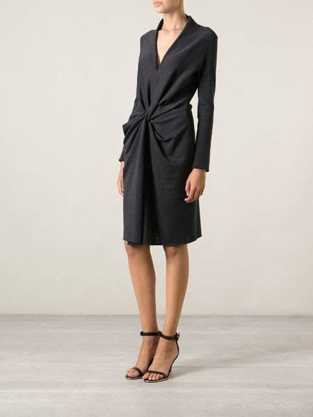 lanvin draped dress lanvin draped dress in gray grey lyst