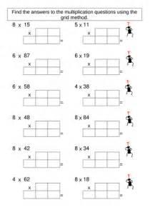 multiplication grid method worksheet generator by skettle