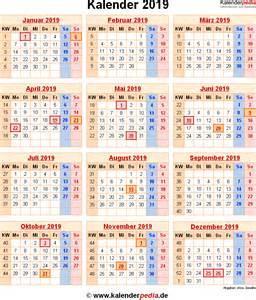 Kalender 2018 Und 2019 Kalender 2019 Mit Excel Pdf Word Vorlagen Feiertagen