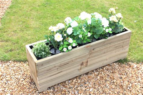 Wooden Garden Planters Large by Large Wooden Garden Planter Trough 150cm Length Decking