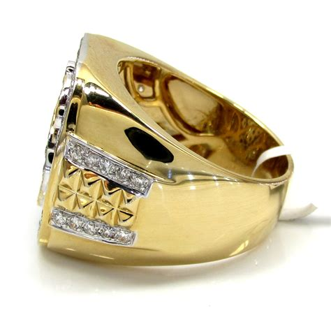 14k yellow and white gold dollar sign money ring 1