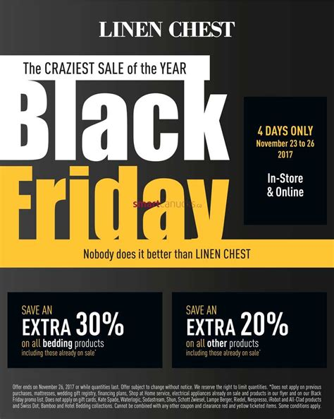 Black Linen In November by Linen Chest Canada Flyers