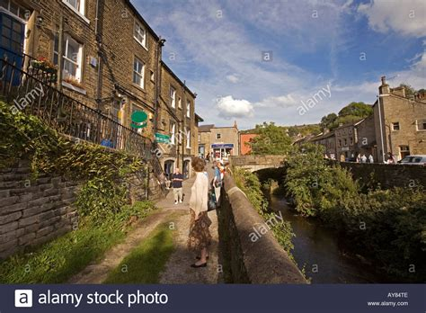 houses to buy holmfirth uk yorkshire holmfirth town centre norah battys house last of summer stock photo