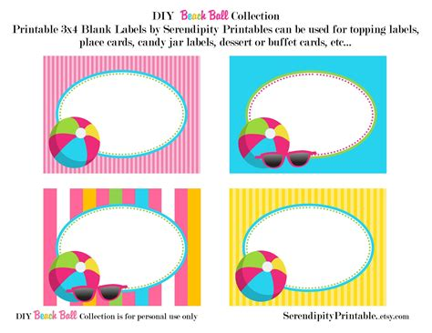 beach labels for party snacks summer beach party pool instant download beach ball pool printable food labels