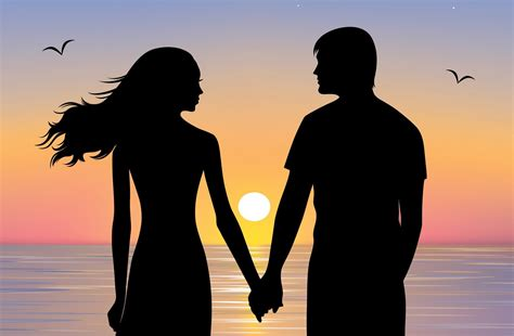 couple wallpaper pair girl guy silhouette couple the pair hands love view sky