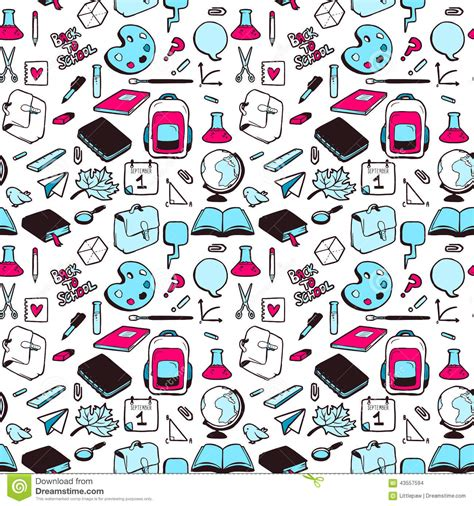 pattern web page seamless pattern with various elements for school stock