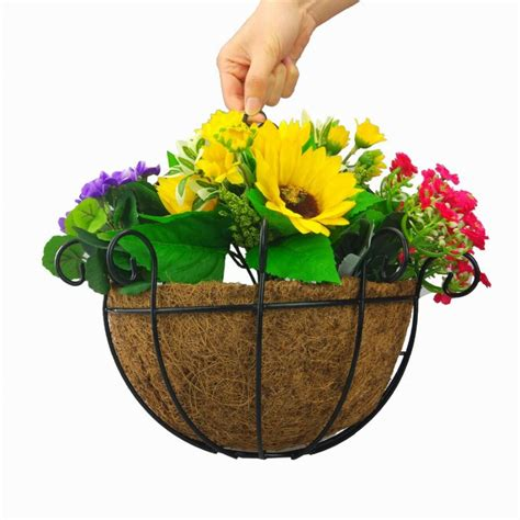 decorative indoor hanging baskets 25cm half wall wire hanging flower pot metal decorative