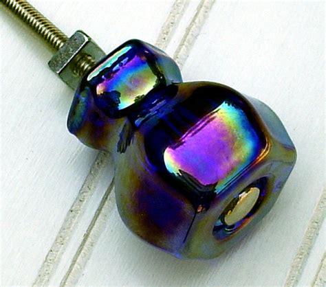 3 cobalt blue carnival glass knobs glass cabinet knobs dresser
