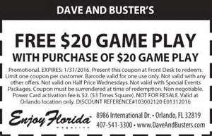 Dave and busters coupon