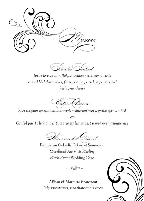 wedding menu sles templates 164249 300 215 390 wedding menu 21gowedding