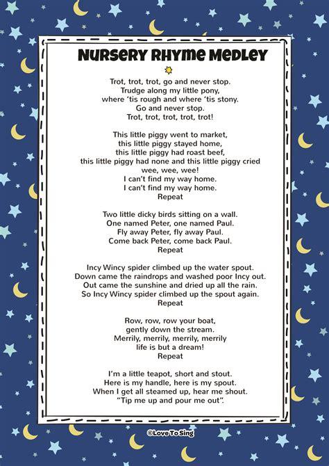 nursery rhyme medley song with free lyrics