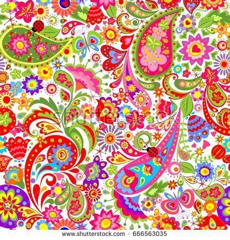 decorative wallpaper decorative wallpaper colorful ethnic flowers paisley stock