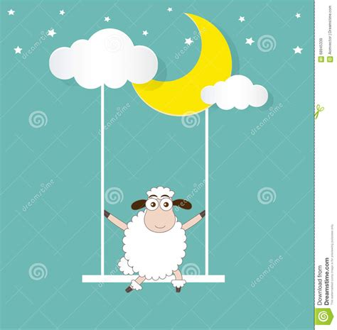 sheep swing sheep swinging on a moon and cloud stock vector image