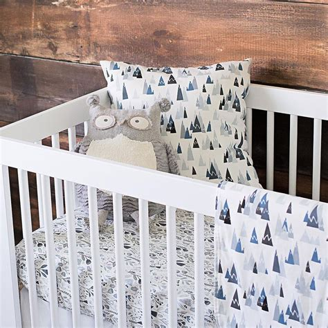 blue woodland mountains crib bedding carousel designs