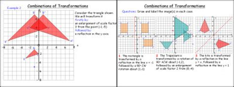combinations of transformations worksheet maths transformations enlargement worksheet level 6 enlargement by catrynw teaching resources