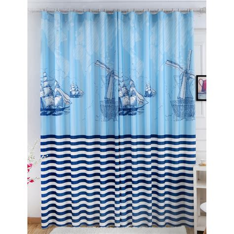 blue nautical curtains blue and navy color block striped print poly cotton blend