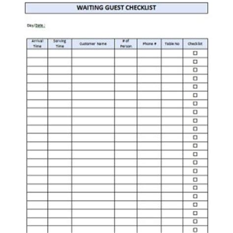 waiting page template restaurant waiting list template formal word templates