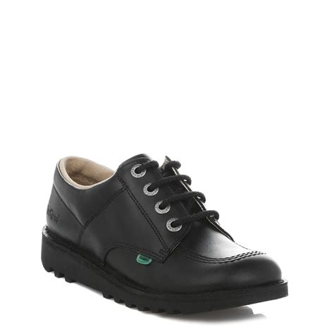 Kickers Tiranosaurus Casual Black Leather kickers mens kick lo black derby shoes lace up leather casual footwear ebay