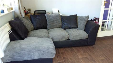 grey and black leather look corner sofa for sale in