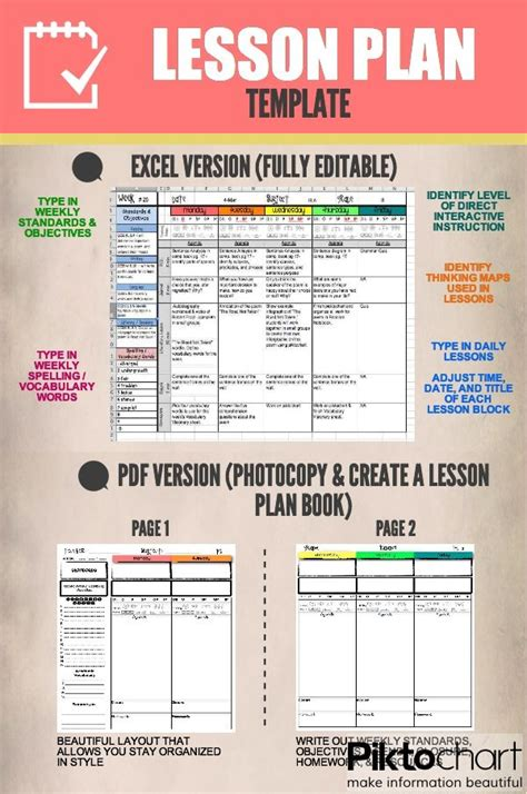 free printable lesson plan template from kindergarden to