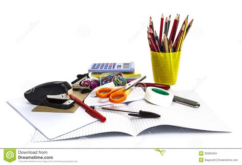 office favors school and office stationary isolated on white stock
