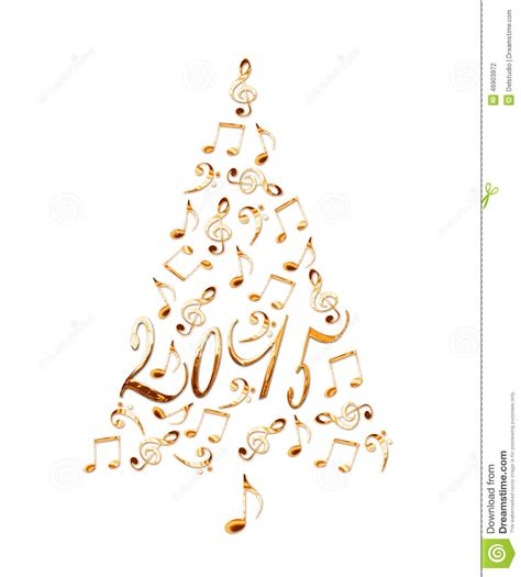 2015 christmas tree with golden metal musical notes stock