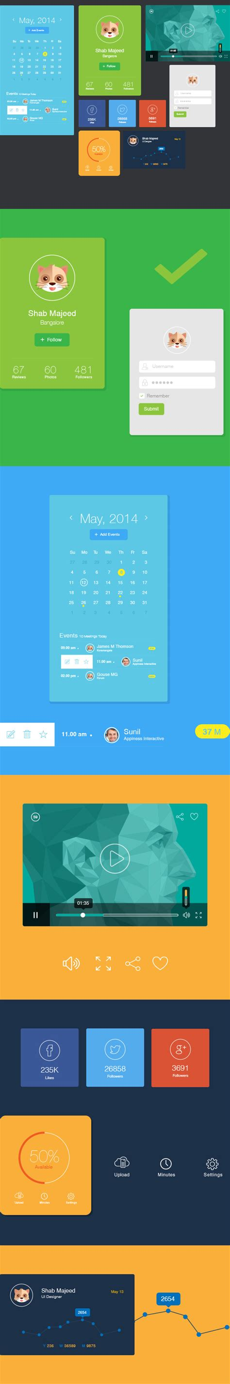 flat design ui elements free download flat ui design elements designbeep