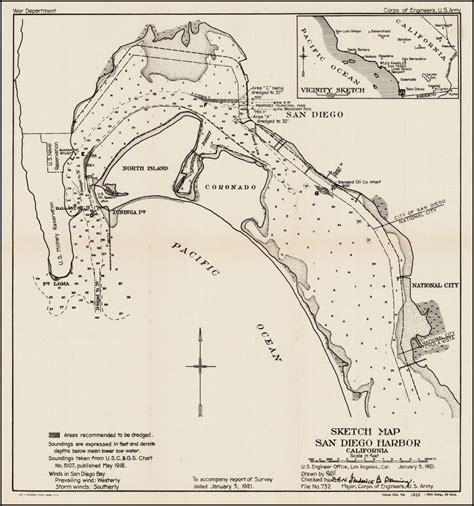 sketch map maker sketch map of san diego harbor california 1921