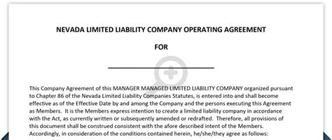 Limited Liability Company Operating Agreement Form Free Printable Documents Nevada Llc Operating Agreement Template