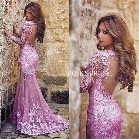 aliexpress gowns aliexpress com buy sheer back evening gowns pink lace