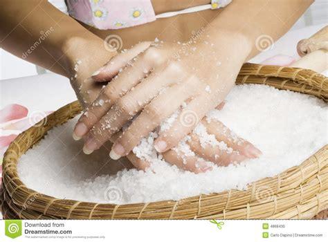 Scrub Tiff scrub with salt stock photo image of health