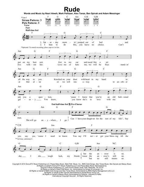 printable rude lyrics rude sheet music direct