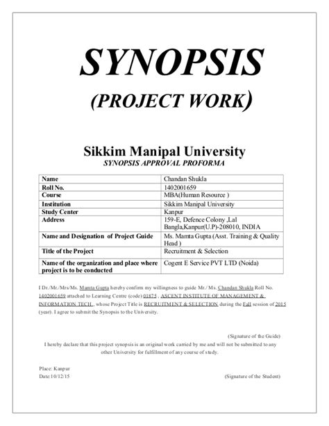 Mba Project Outline by Project Synopsis Mba