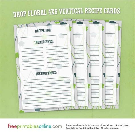 free drink recipe card template drop floral 4 215 6 vertical recipe cards free printables