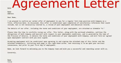 Offer Letter After Verbal Offer Exles Agreement Letters Sles Business Letters