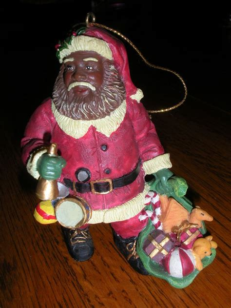 small resin black santa clause ornament black santa