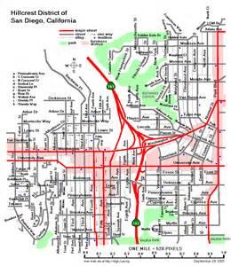 San Diego Street Map by Hillcrest San Diego Map