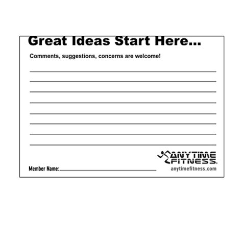 employee suggestion card template suggestion pad for anytime fitness