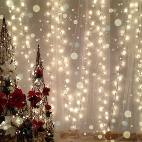 white lights and tulle for a soft christmas backdrop