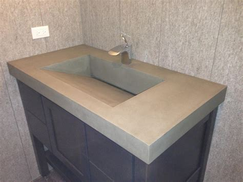 Ideas Design For Bathroom Trough Sink Grey Concrete Sink And Steel Faucet On Top Black Wooden Vanity Of Wonderful Design Of Concrete
