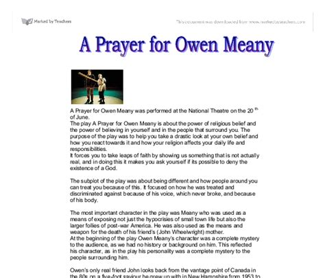 A Prayer For Owen Meany Essay by A Prayer For Owen Meany Was Performed At The National Theatre A Level Drama Marked By