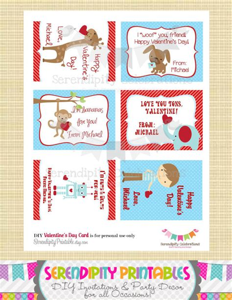 printable student postcards items similar to diy printable valentine cards classroom