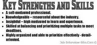 resume strengths exles key strengths skills in a resume